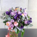 紫×オレンジ クラッチブーケ